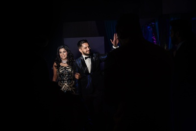 Siddharth and Sukanya wore complementing navy blue ensembles for their Sangeet cum Cocktail Party.