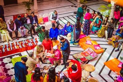 Pre wedding rituals in progress at Noor Mahal, Karnal