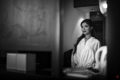 Getting ready for her most special wedding held at the Leela, Keral