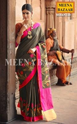 Meena Bazaar Black Floral Handwoven Saree