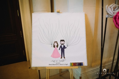 Cute and quirky signage at the wedding entrance!