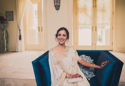 Candid click of the bride prior to her wedding function!
