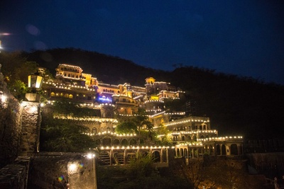 Neemrana Fort Palace shinning and glowing for couple grand wedding ceremony which has left us speechless!