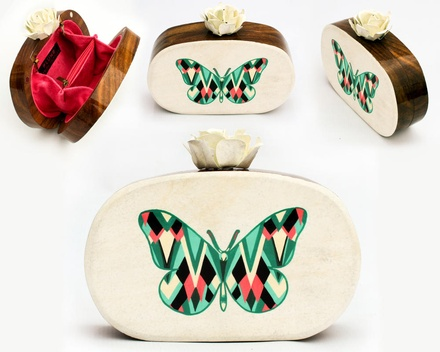 Butterfly hand painted wooden box clutch