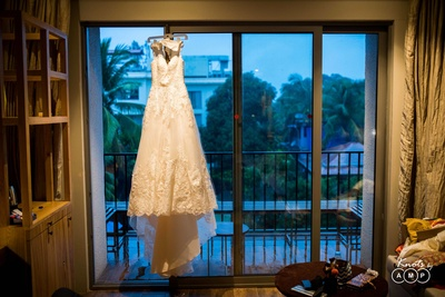 Bridal reception gown captured by Knots by AMP