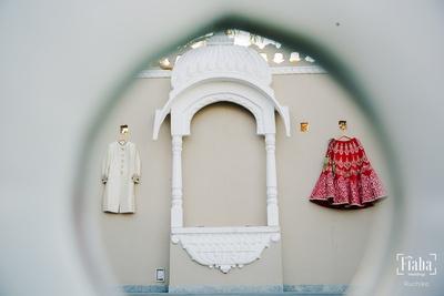 Thhe lehenga and sherwani on display just before the wedding ceremonies commence!
