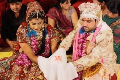 Bedazzled red wedding lehenga