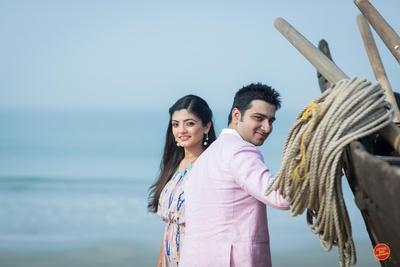Beautiful couple's pre wedding shot taken near the beach