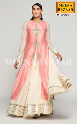 Meena Bazaar Cream Anarkali With Pink Jacket