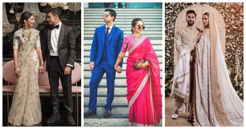 8 Brides who chose Sarees over Gowns for their Reception!
