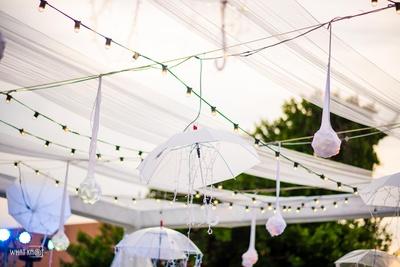 Subtle and unique umbrella decoration idea!