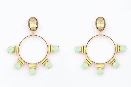 Blue Crystal Loop Earrings