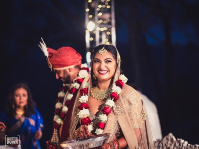 all smiles during the wedding ceremony