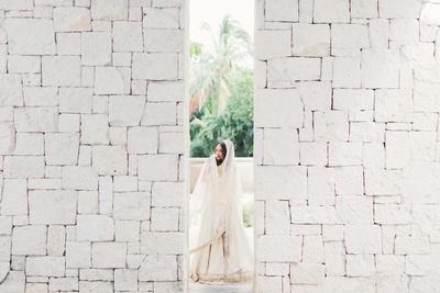Komal poses for her all white themed pre wedding photoshoot in her white bridal lehenga