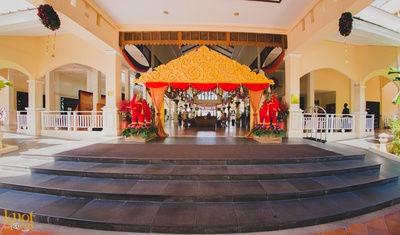 Sofitel decorated in a color themed of red and gold to welcome the guests