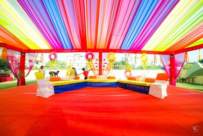 Love the colorful drapes. Decoration for sangeet held at prasant party plot, anand