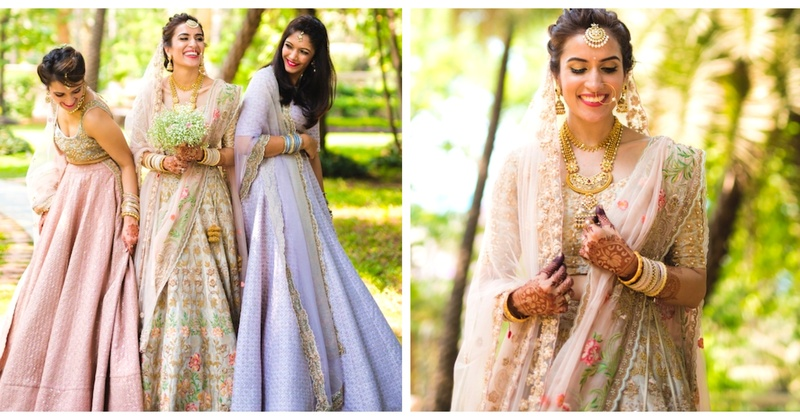 This top fashion blogger bride had the most gorgeous pastel lehenga shoot with her girls!