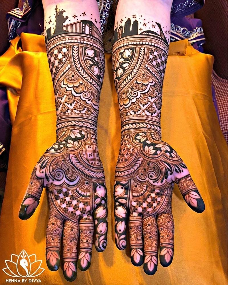 simple full hand mehndi design easy