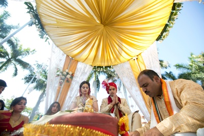 Yellow and white wedding decor for the mandap ideas.
