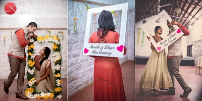 Creative photo shoot using DIY frames and cut-out signage with couple's initials