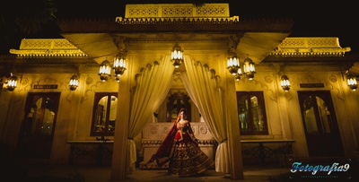 Opulent wedding venue Jagmandir, Udaipur lit up with bright lights