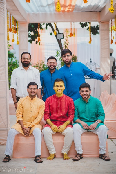 The groom with his squad at his haldi ceremony