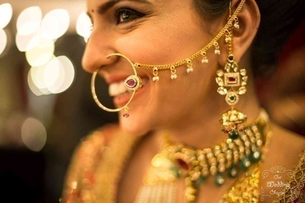 Have a look at how our real brides rocked the different bridal nose ring designs at their wedding