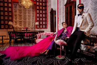 Kaabia Grewal and Rushang Shah in extravagant clothes for the mad mansion party