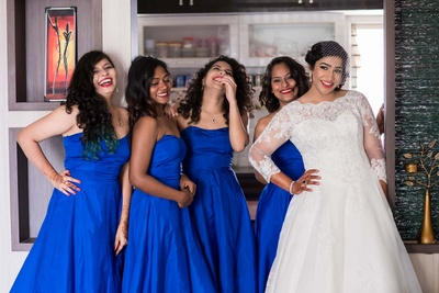 Happy and fun bridesmaids.
