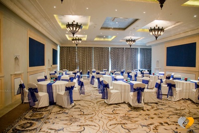 Royal blue decor at the luxurious and royal Hotel Fairmont, Jaipur