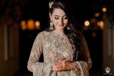 Beautiful bride at her Sangeet function