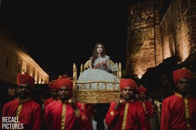 A royal entry on her sangeet