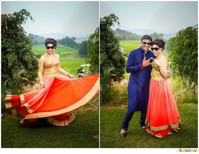 Orange and gold flared contemporary gown