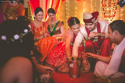 Rule it with 'ring'. Cute post wedding traditions.
