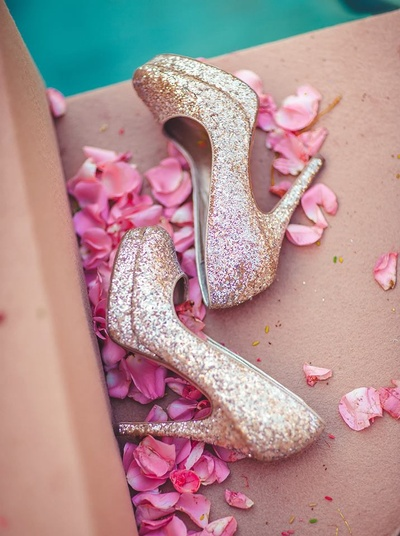 Glittering gold bridal heels for the wedding day.