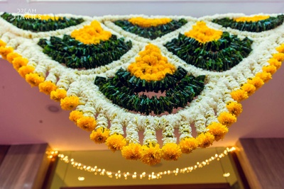 Genda phool decor for mehendi function