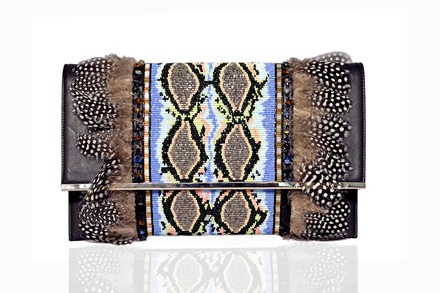 Rossoyuki Feather and glass beaded Panelled clutch- Blue Brown
