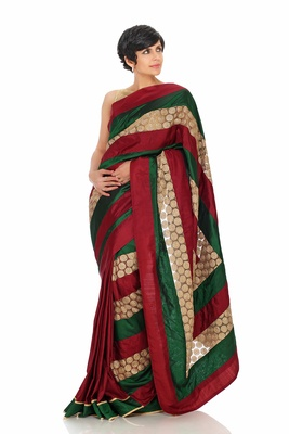 Maroon, Green and Gold Embroidered Saree