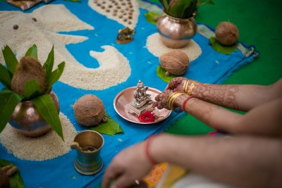 Pooja prep for the south indian stlye wedding function at Aashyana Lakhanpal
