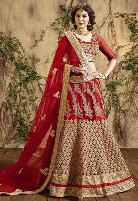 Variation Red  Georgette Bridal Lehenga Choli