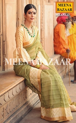 Meena Bazaar Green And Beige Kota Saree