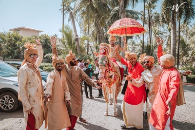 the groom and his baraat entering in full glory