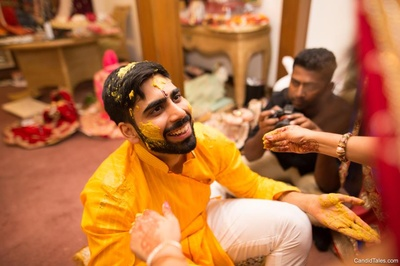 Groom's haldi in progress at the Taj Westend Hotel