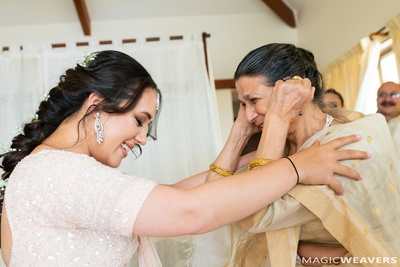 The bride sharing a special moment with her grandmother