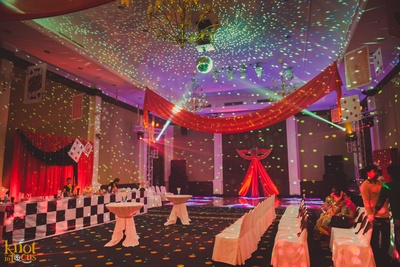 Casino themed party night with matching decoration, drapes and props