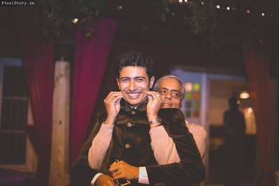 Shravan getting some family love right before the sangeet ceremony.