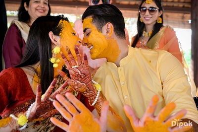 The lovely couple share a romantic moment during their haldi ceremony!