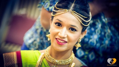 Traditional South Indian gold jewellery with maathapatti