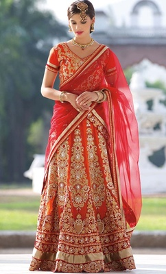 Variation Orange Georgette Bridal Lehenga Choli