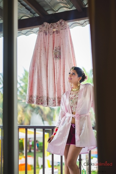 The bride with her lehenga on the wedding day